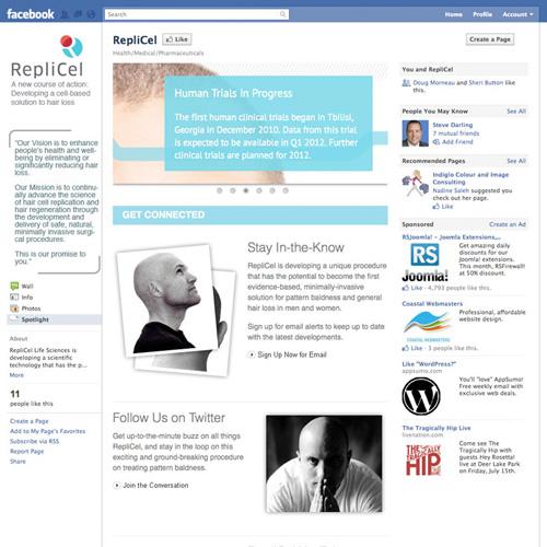 RepliCel Website and Facebook App
